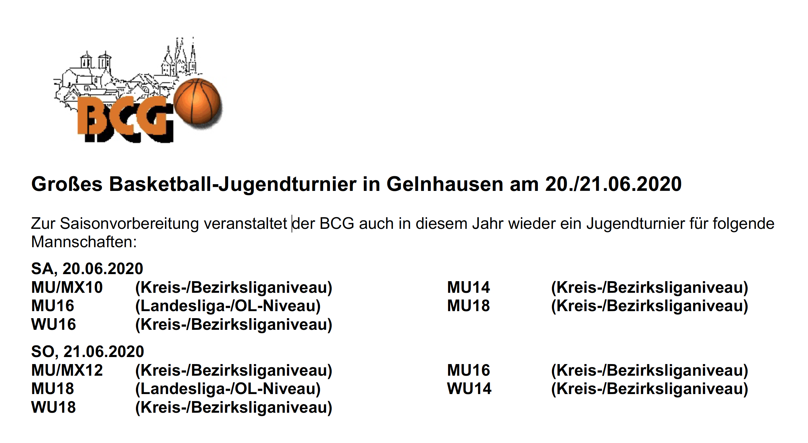 Basketball-Jugendturnier in Gelnhausen
